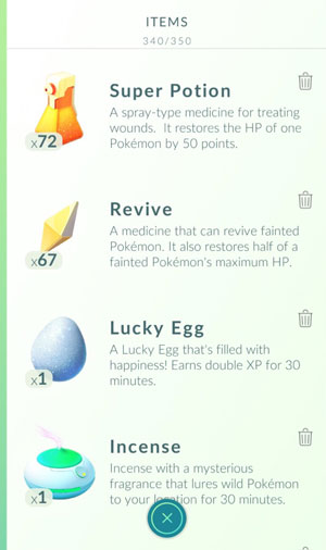 pokemon go item list